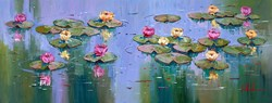Lirios de Agua en el Estanque I by Villalba - Original Painting on Box Canvas sized 51x20 inches. Available from Whitewall Galleries
